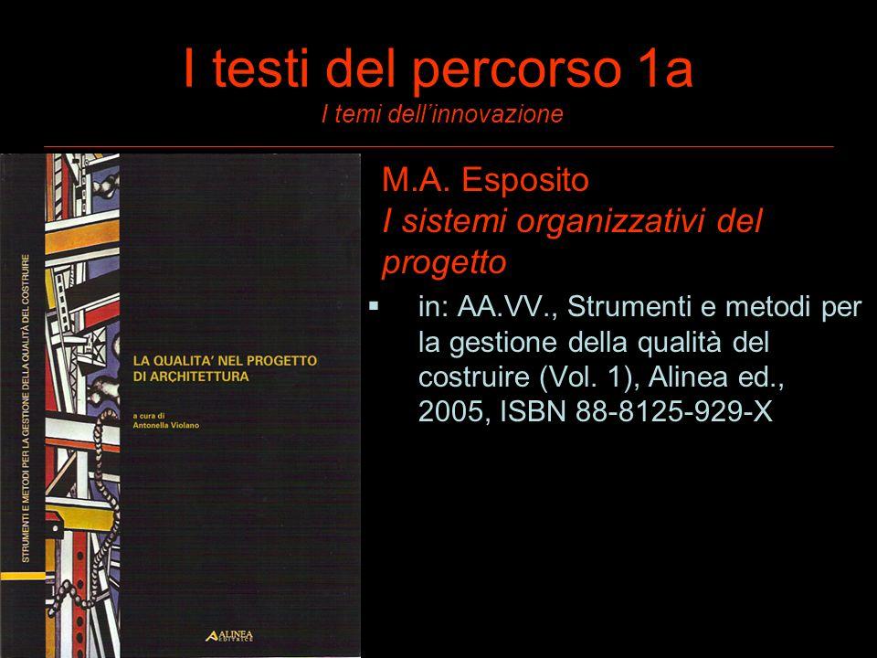 I testi del percorso 1a I temi dellinnovazione M.A. Esposito I sistemi organizzativi del progetto in: AA.VV., Strumenti e metodi per la gestione della