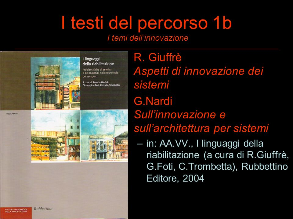 I testi del percorso 1b I temi dellinnovazione R. Giuffrè Aspetti di innovazione dei sistemi G.Nardi Sullinnovazione e sullarchitettura per sistemi –i