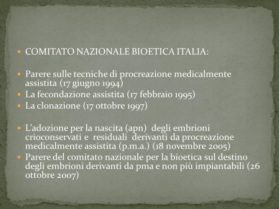 COMITATO NAZIONALE BIOETICA ITALIA: Parere sulle tecniche di procreazione medicalmente assistita (17 giugno 1994) La fecondazione assistita (17 febbraio 1995) La clonazione (17 ottobre 1997) Ladozione per la nascita (apn) degli embrioni crioconservati e residuali derivanti da procreazione medicalmente assistita (p.m.a.) (18 novembre 2005) Parere del comitato nazionale per la bioetica sul destino degli embrioni derivanti da pma e non più impiantabili (26 ottobre 2007)