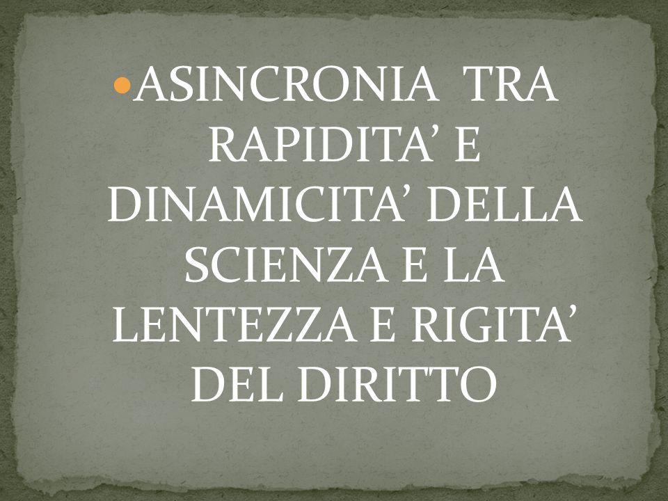 ASINCRONIA TRA RAPIDITA E DINAMICITA DELLA SCIENZA E LA LENTEZZA E RIGITA DEL DIRITTO