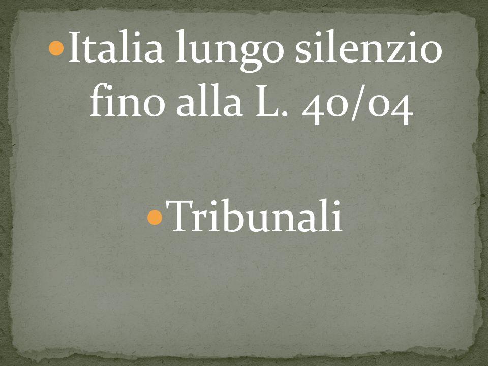 Italia lungo silenzio fino alla L. 40/04 Tribunali