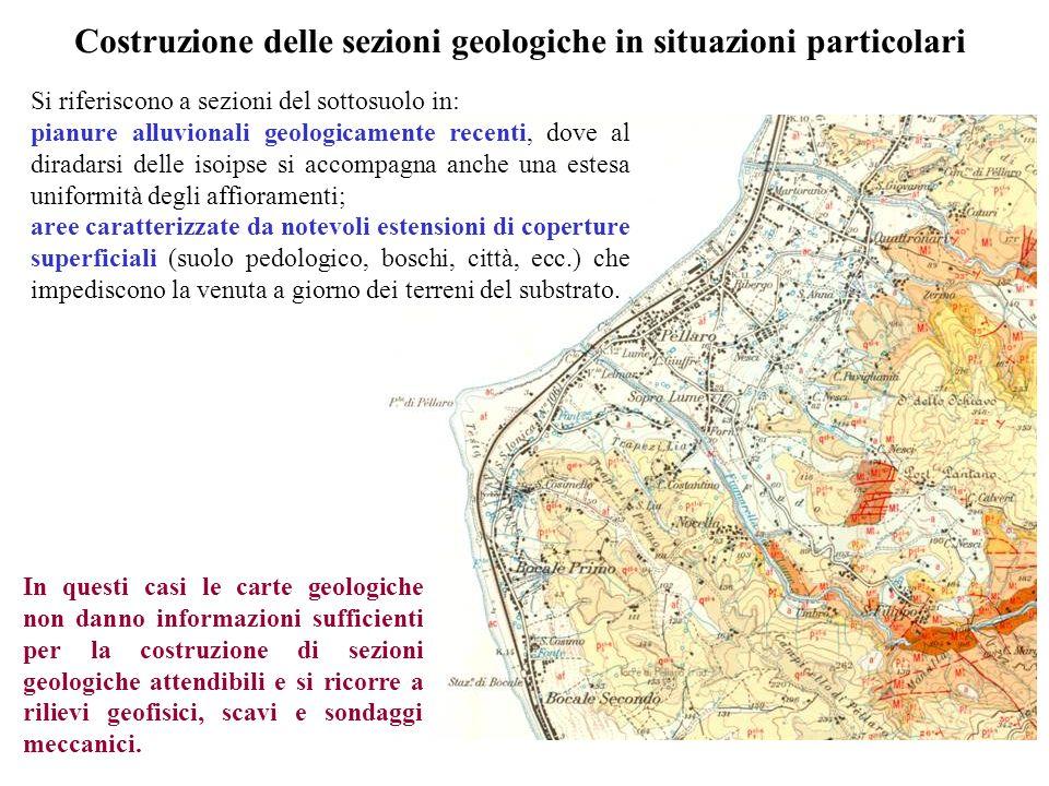 Costruzione delle sezioni geologiche in situazioni particolari Si riferiscono a sezioni del sottosuolo in: pianure alluvionali geologicamente recenti,