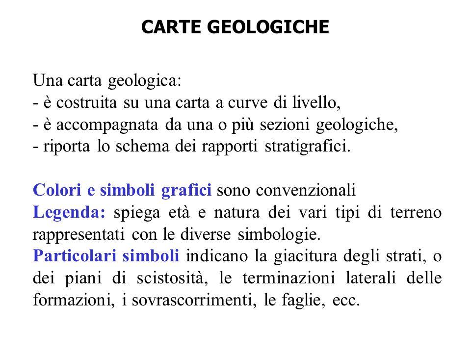 Una carta geologica: - è costruita su una carta a curve di livello, - è accompagnata da una o più sezioni geologiche, - riporta lo schema dei rapporti