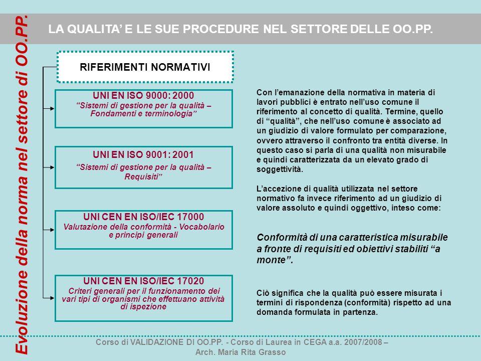 LA QUALITA E LE SUE PROCEDURE NEL SETTORE DELLE OO.PP. RIFERIMENTI NORMATIVI UNI EN ISO 9000: 2000 Sistemi di gestione per la qualità – Fondamenti e t