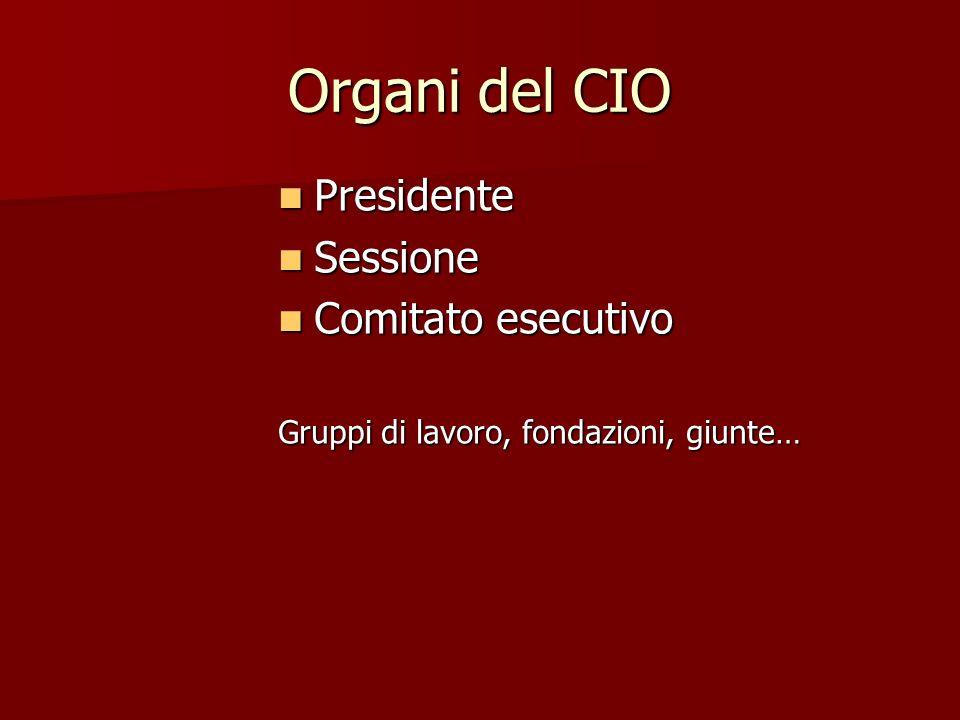 Organi del CIO Presidente Presidente Sessione Sessione Comitato esecutivo Comitato esecutivo Gruppi di lavoro, fondazioni, giunte…