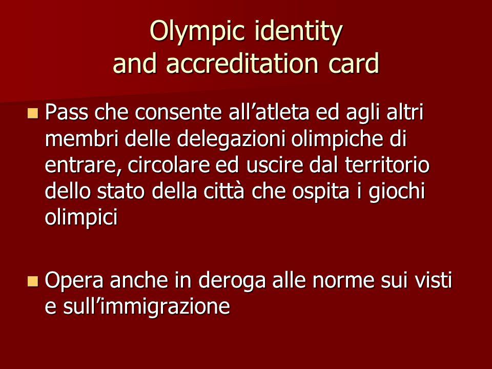 Olympic identity and accreditation card Pass che consente allatleta ed agli altri membri delle delegazioni olimpiche di entrare, circolare ed uscire d