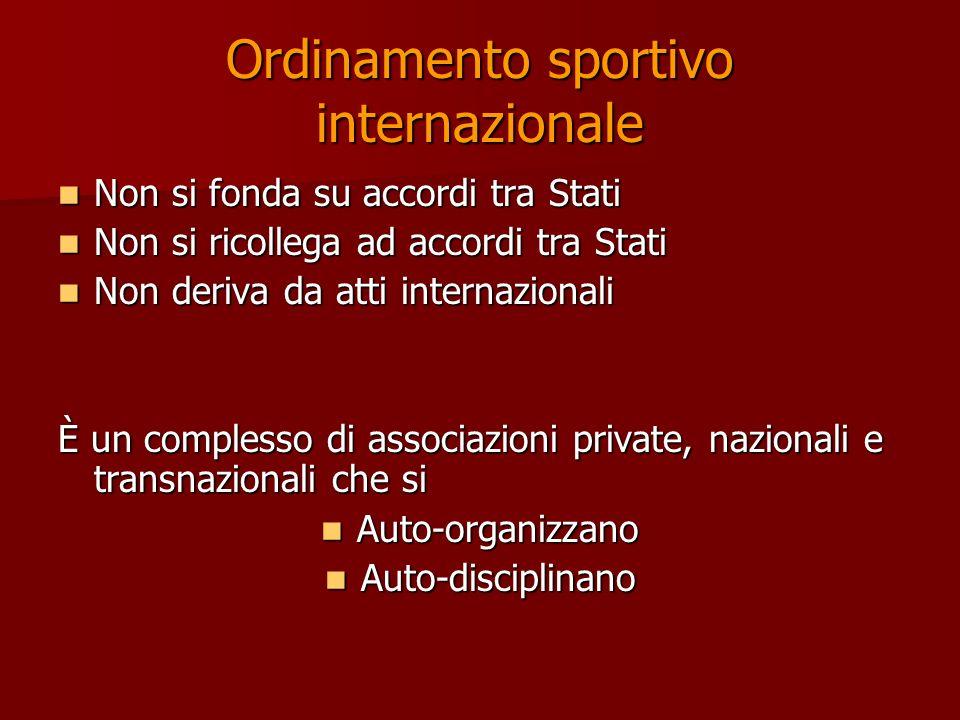 Ordinamento sportivo internazionale Non si fonda su accordi tra Stati Non si fonda su accordi tra Stati Non si ricollega ad accordi tra Stati Non si r