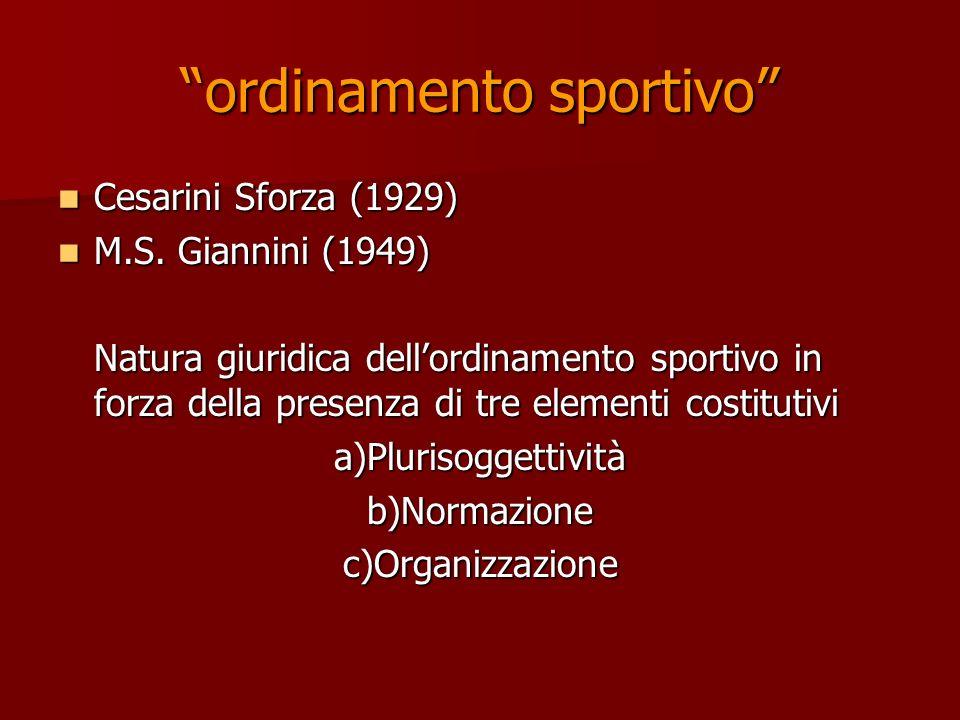 ordinamento sportivo Cesarini Sforza (1929) Cesarini Sforza (1929) M.S. Giannini (1949) M.S. Giannini (1949) Natura giuridica dellordinamento sportivo