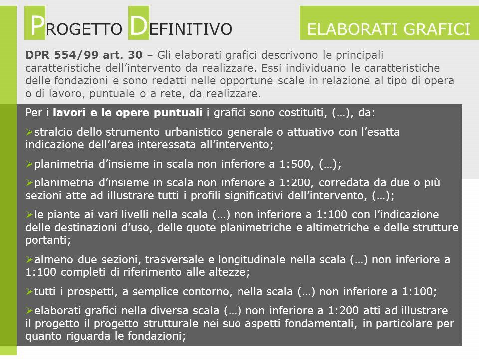 DPR 554/99 art. 30 – Gli elaborati grafici descrivono le principali caratteristiche dellintervento da realizzare. Essi individuano le caratteristiche