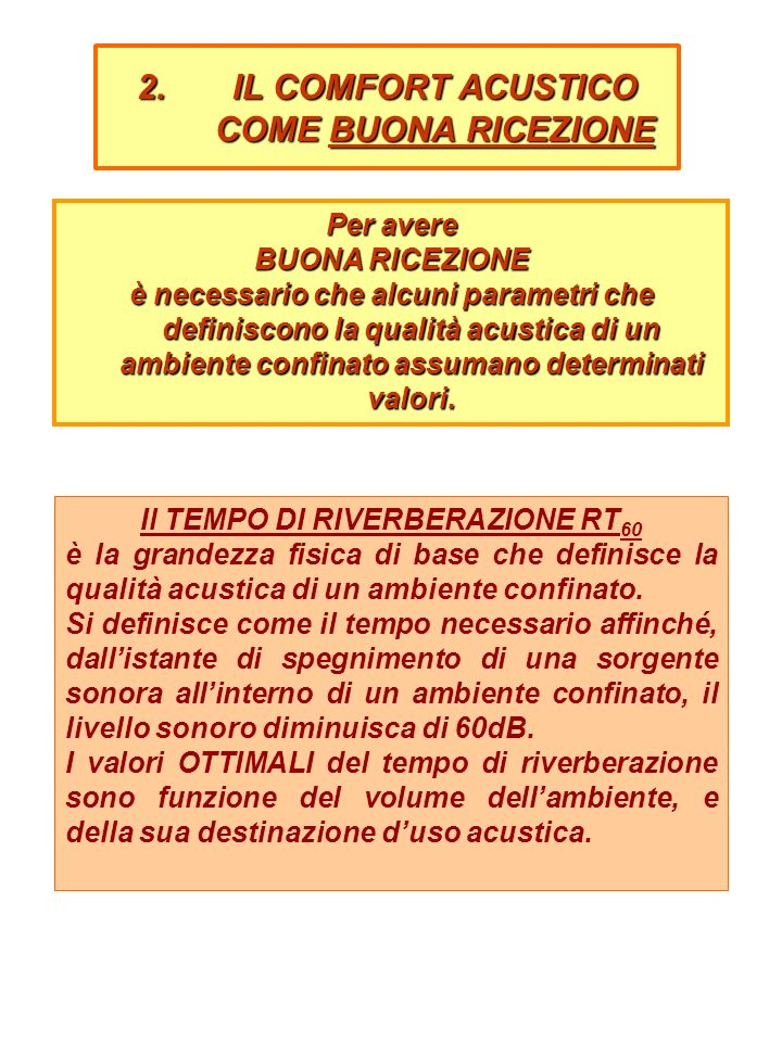 2.IL COMFORT ACUSTICO COME INTELLIGIBILITÀ DEL PARLATO 1.caratteristiche acustiche della voce umana (potenza, direttività, composizione in frequenza); 2.distanza fra la persona che parla e quella che ascolta (livello di pressione sonora del segnale); 3.presenza di rumore di fondo (livello di pressione sonora del rumore di fondo); 4.riverberazione (tempo di riverberazione RT 60 ).