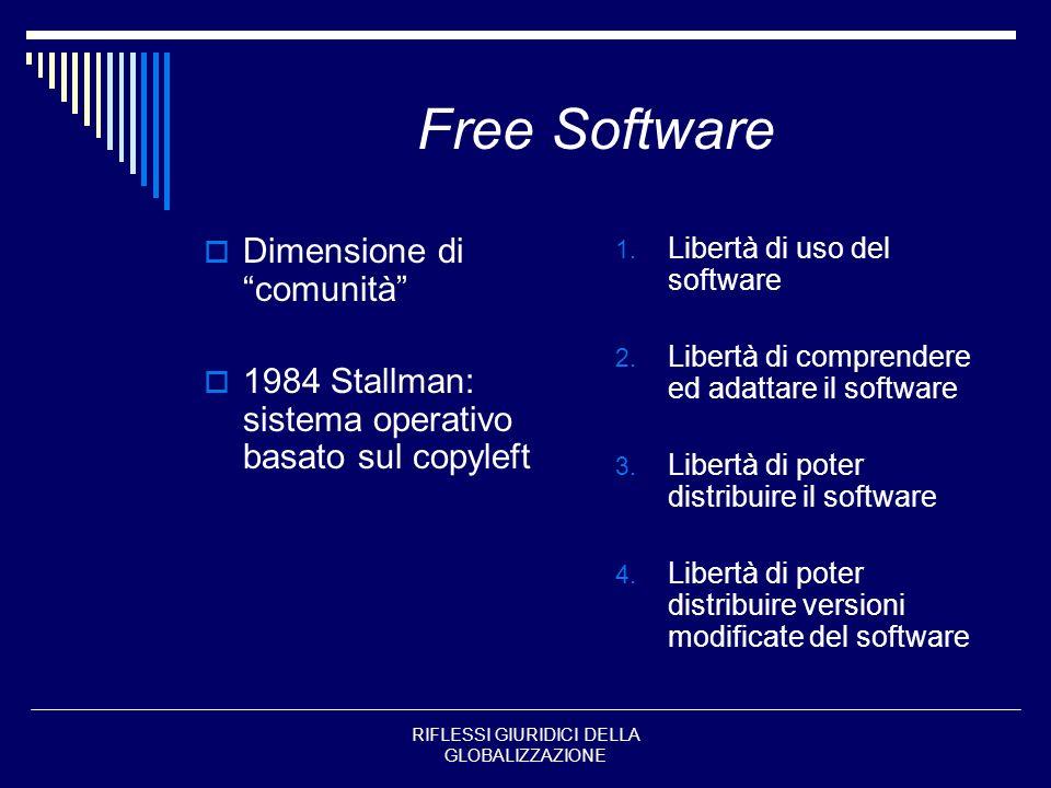 RIFLESSI GIURIDICI DELLA GLOBALIZZAZIONE Free Software Dimensione di comunità 1984 Stallman: sistema operativo basato sul copyleft 1. Libertà di uso d
