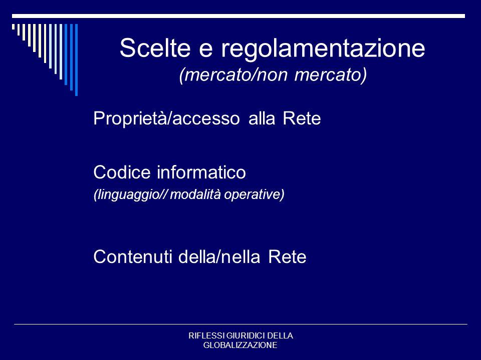 RIFLESSI GIURIDICI DELLA GLOBALIZZAZIONE Scelte e regolamentazione (mercato/non mercato) Proprietà/accesso alla Rete Codice informatico (linguaggio//