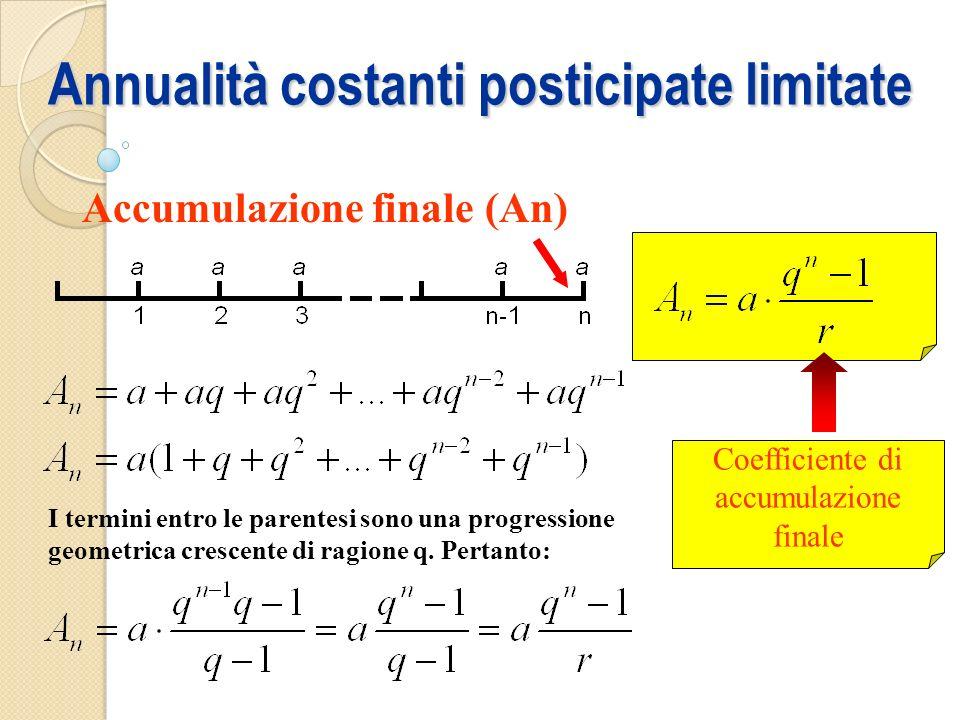Annualità costanti posticipate limitate Accumulazione finale (An) I termini entro le parentesi sono una progressione geometrica crescente di ragione q