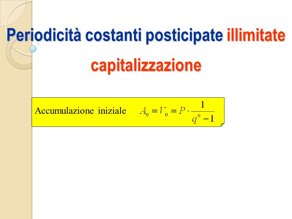 Periodicità costanti posticipate illimitate capitalizzazione Accumulazione iniziale
