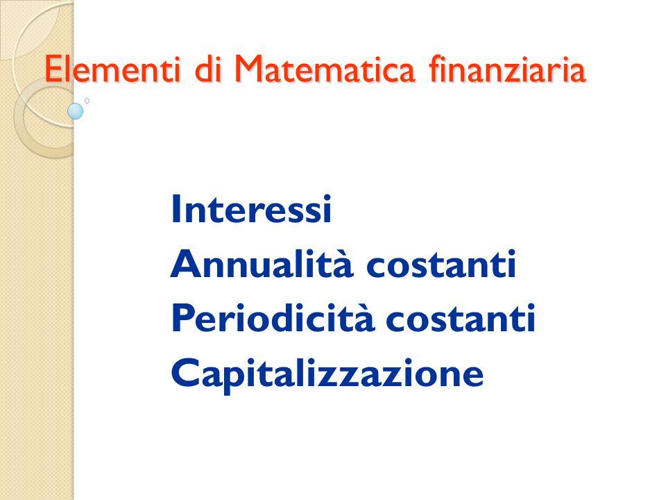 Interessi Annualità costanti Periodicità costanti Capitalizzazione