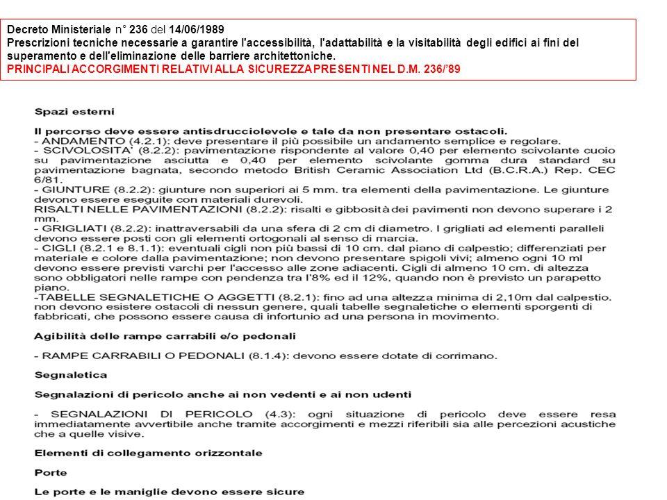 Decreto Ministeriale n° 236 del 14/06/1989 Prescrizioni tecniche necessarie a garantire l accessibilità, l adattabilità e la visitabilità degli edifici ai fini del superamento e dell eliminazione delle barriere architettoniche.
