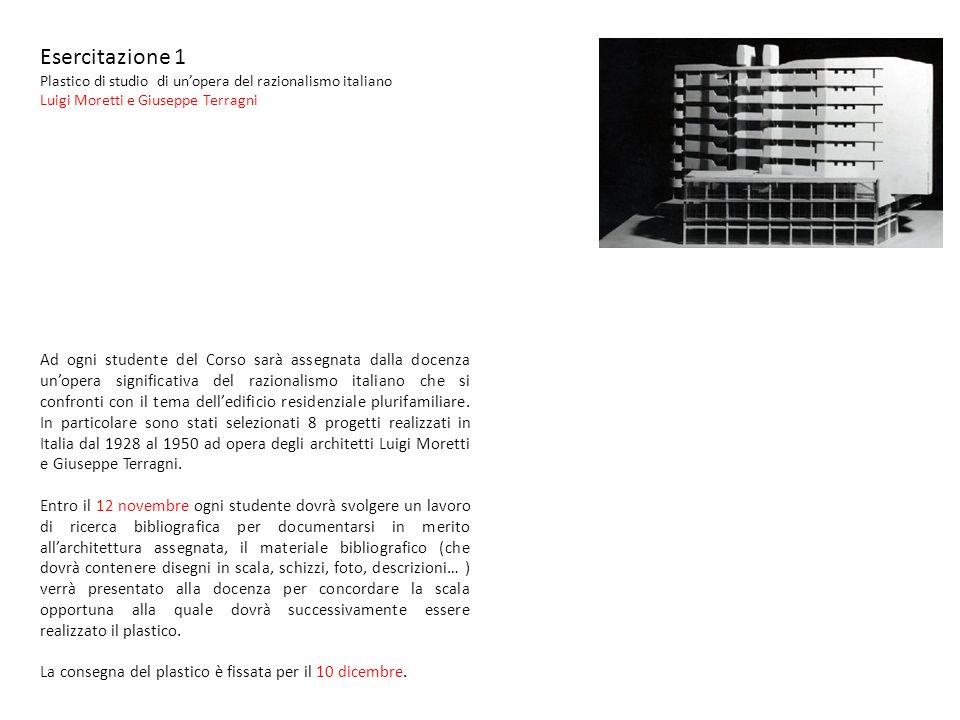 Esercitazione 1 Plastico di studio di unopera del razionalismo italiano Luigi Moretti e Giuseppe Terragni Ad ogni studente del Corso sarà assegnata da
