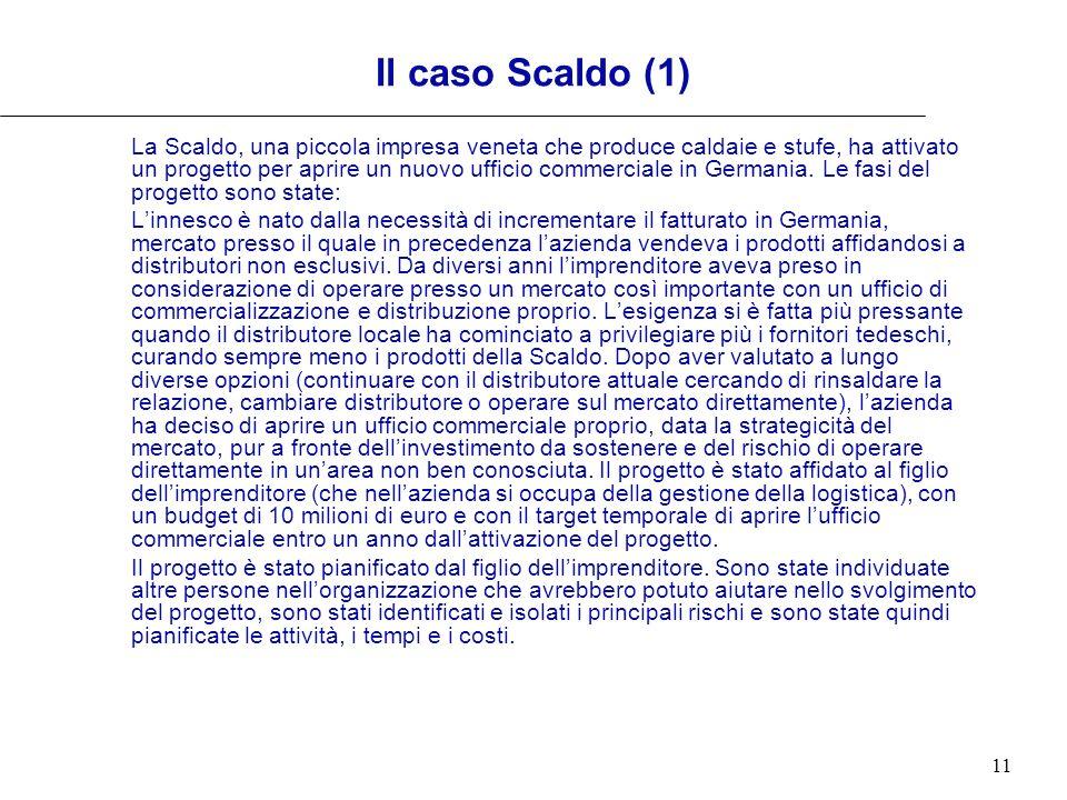 11 Il caso Scaldo (1) La Scaldo, una piccola impresa veneta che produce caldaie e stufe, ha attivato un progetto per aprire un nuovo ufficio commercia