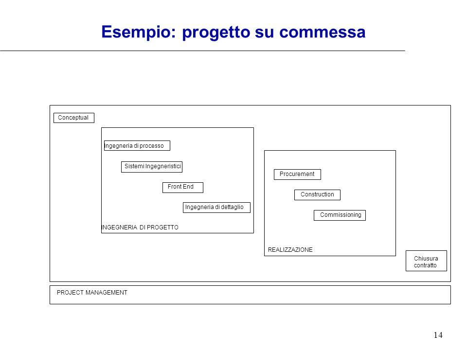 14 Esempio: progetto su commessa Ingegneria di dettaglio Front End Conceptual Ingegneria di processo Sistemi Ingegneristici Procurement Construction C