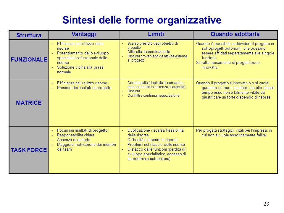 23 Sintesi delle forme organizzative Struttura VantaggiLimitiQuando adottarla FUNZIONALE -Efficienza nellutilizzo delle risorse -Potenziamento dello s