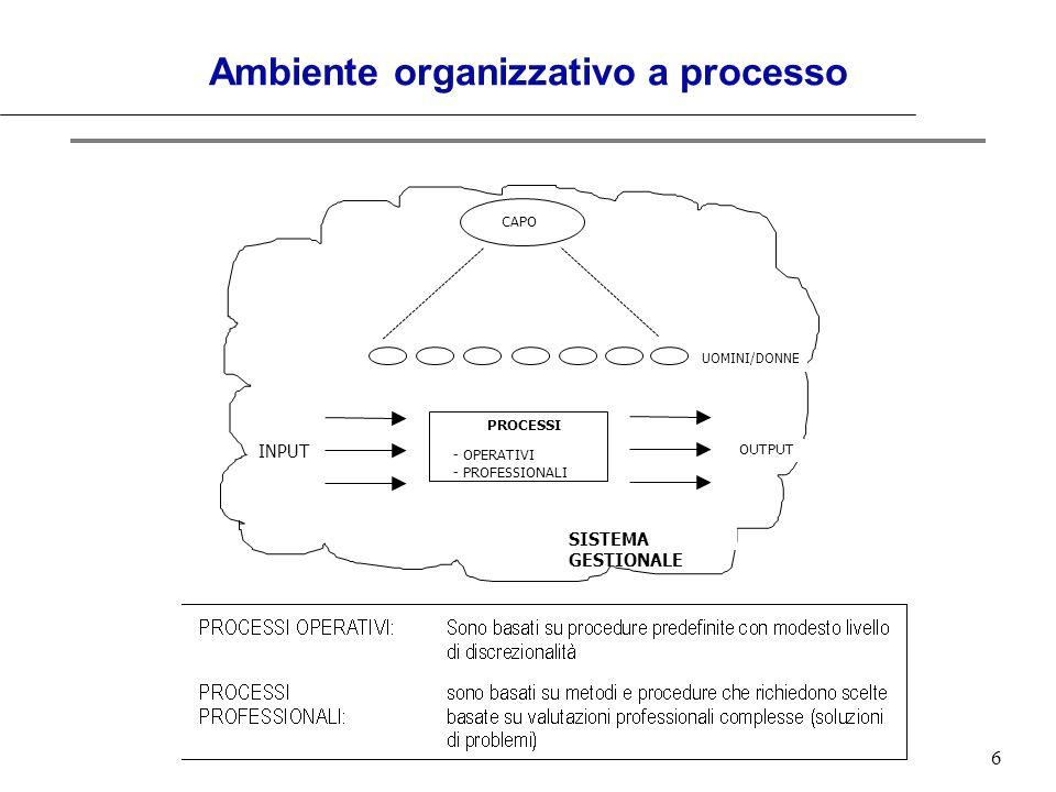 6 Ambiente organizzativo a processo CAPO UOMINI/DONNE INPUT OUTPUT PROCESSI SISTEMA GESTIONALE - OPERATIVI - PROFESSIONALI