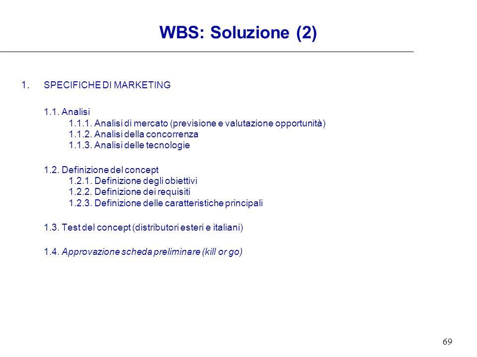 69 WBS: Soluzione (2) 1. SPECIFICHE DI MARKETING 1.1. Analisi 1.1.1. Analisi di mercato (previsione e valutazione opportunità) 1.1.2. Analisi della co