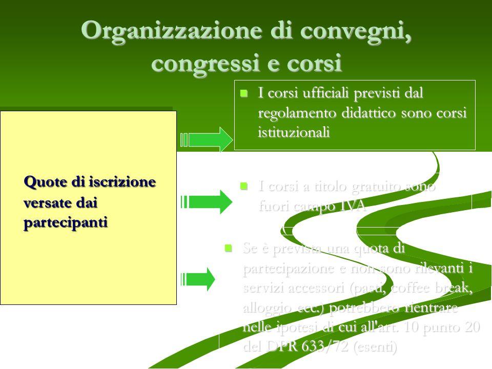 Organizzazione di convegni, congressi e corsi I corsi ufficiali previsti dal regolamento didattico sono corsi istituzionali I corsi ufficiali previsti