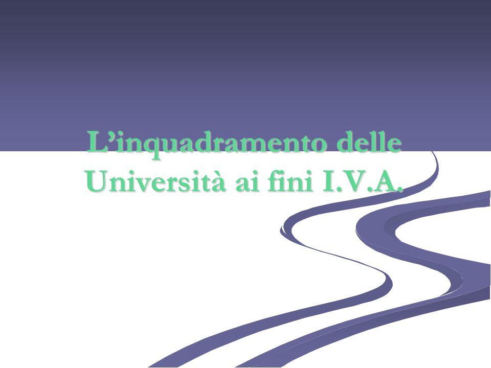 Linquadramento delle Università ai fini I.V.A.