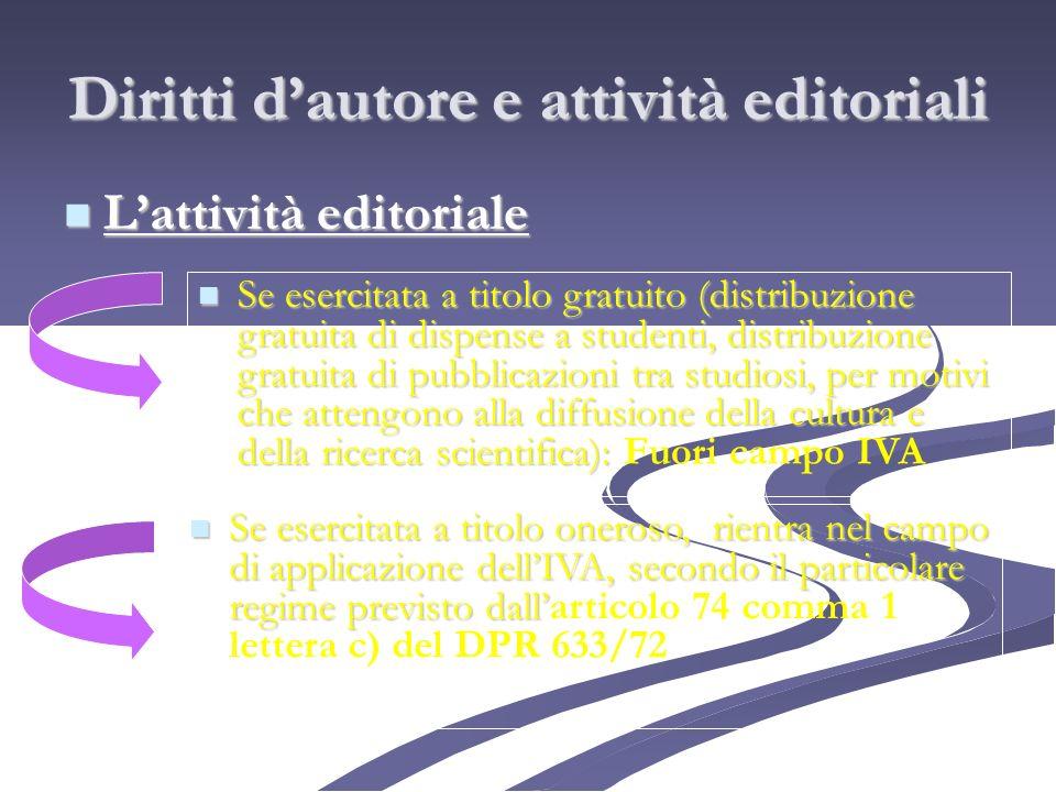 Diritti dautore e attività editoriali Lattività editoriale Lattività editoriale Se esercitata a titolo gratuito (distribuzione gratuita di dispense a