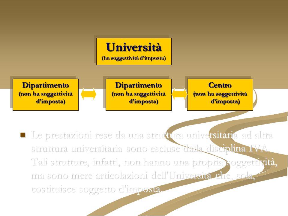 Le prestazioni rese da una struttura universitaria ad altra struttura universitaria sono escluse dalla disciplina IVA. Tali strutture, infatti, non ha