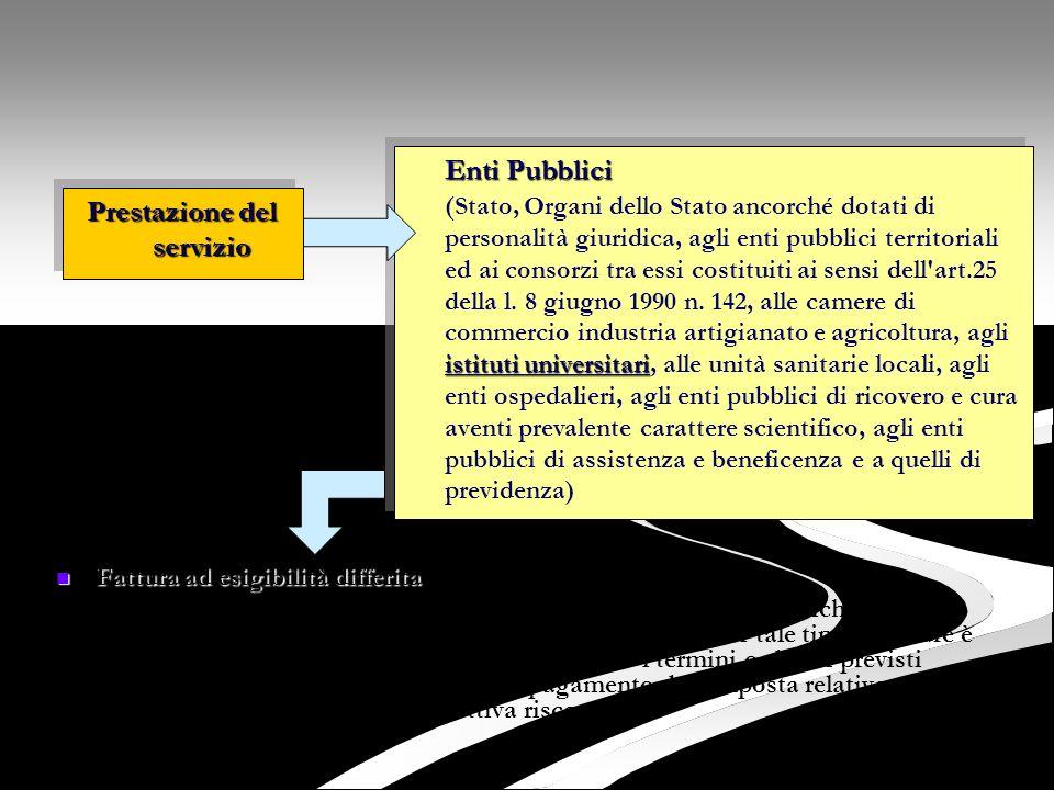 Fattura ad esigibilità differita Fattura ad esigibilità differita L'Ufficio Ragioneria provvede immediatamente, in luogo della richiesta di pagamento,
