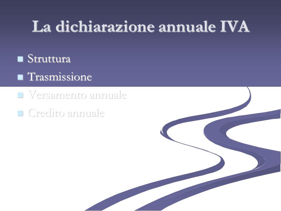 La dichiarazione annuale IVA Struttura Struttura Trasmissione Trasmissione Versamento annuale Versamento annuale Credito annuale Credito annuale