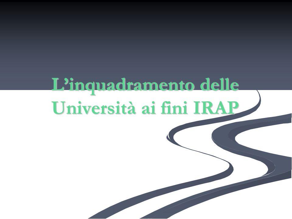 Linquadramento delle Università ai fini IRAP