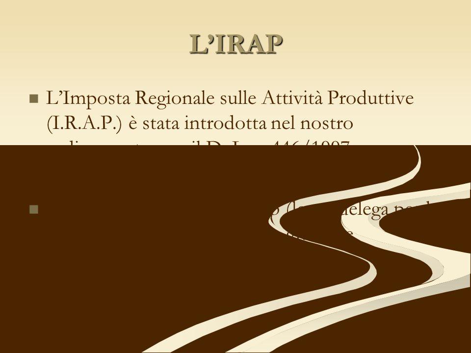 LIRAP LImposta Regionale sulle Attività Produttive (I.R.A.P.) è stata introdotta nel nostro ordinamento con il D. Lgs. 446/1997 La legge n. 80 del 07.