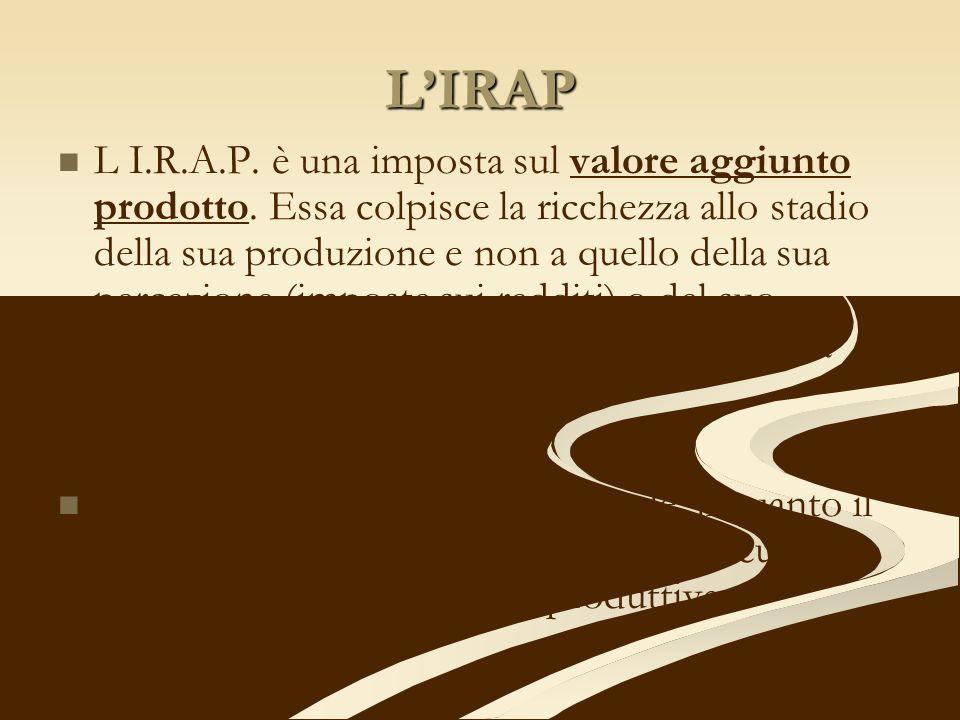 LIRAP L I.R.A.P. è una imposta sul valore aggiunto prodotto. Essa colpisce la ricchezza allo stadio della sua produzione e non a quello della sua perc