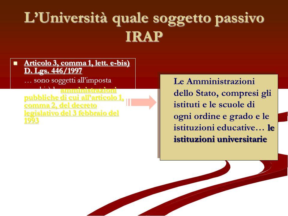 LUniversità quale soggetto passivo IRAP Articolo 3, comma 1, lett. e-bis) D. Lgs. 446/1997 Articolo 3, comma 1, lett. e-bis) D. Lgs. 446/1997 … sono s