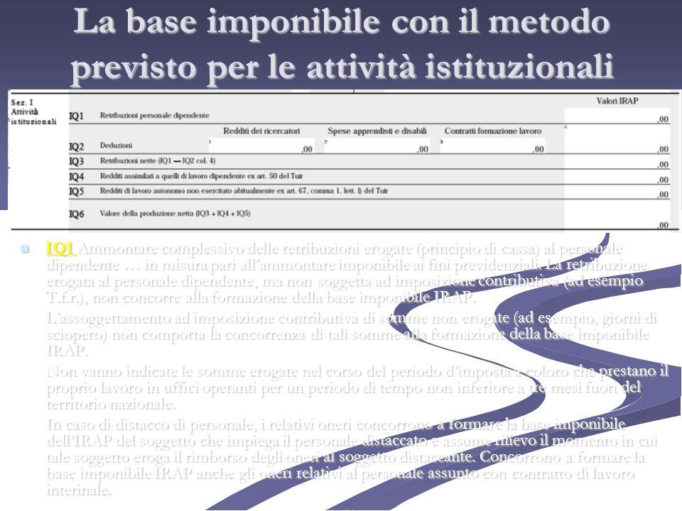 La base imponibile con il metodo previsto per le attività istituzionali IQ1 Ammontare complessivo delle retribuzioni erogate (principio di cassa) al p