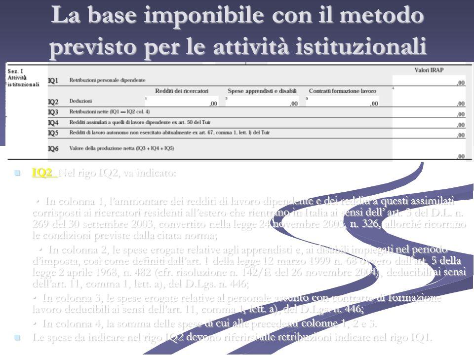 La base imponibile con il metodo previsto per le attività istituzionali IQ2 Nel rigo IQ2, va indicato: IQ2 Nel rigo IQ2, va indicato: In colonna 1, la