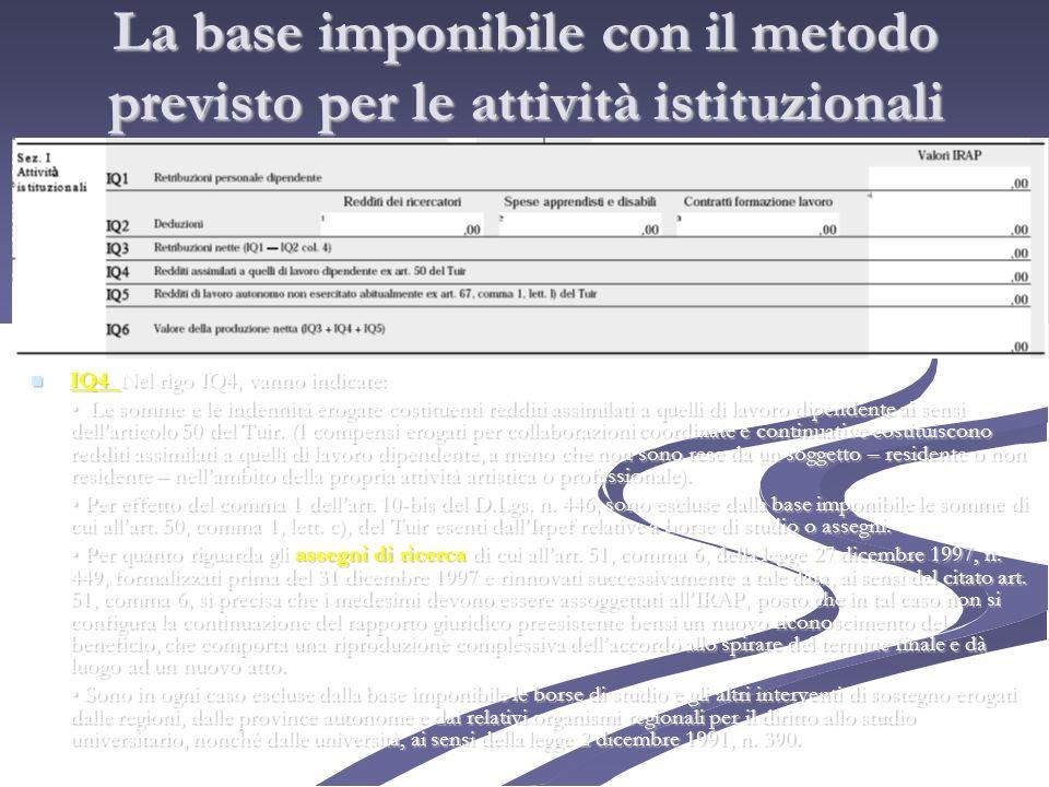 La base imponibile con il metodo previsto per le attività istituzionali IQ4 Nel rigo IQ4, vanno indicate: IQ4 Nel rigo IQ4, vanno indicate: Le somme e