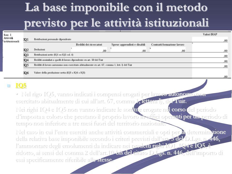La base imponibile con il metodo previsto per le attività istituzionali IQ5 IQ5 Nel rigo IQ5, vanno indicati i compensi erogati per lavoro autonomo no