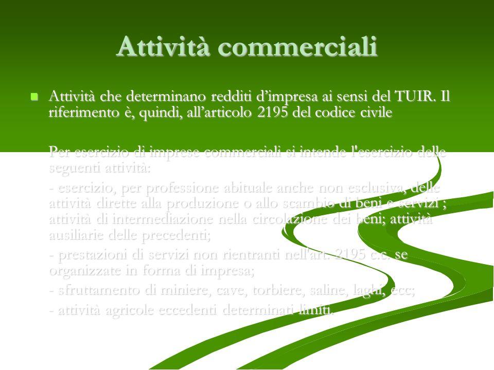 Attività commerciali Attività che determinano redditi dimpresa ai sensi del TUIR. Il riferimento è, quindi, allarticolo 2195 del codice civile Attivit