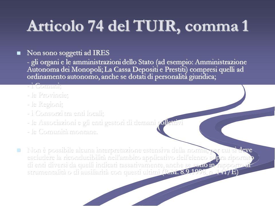 Articolo 74 del TUIR, comma 1 Non sono soggetti ad IRES Non sono soggetti ad IRES - gli organi e le amministrazioni dello Stato (ad esempio: Amministr