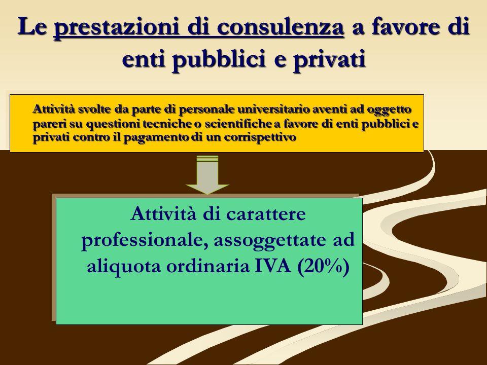 Le prestazioni di consulenza a favore di enti pubblici e privati Attività svolte da parte di personale universitario aventi ad oggetto pareri su quest