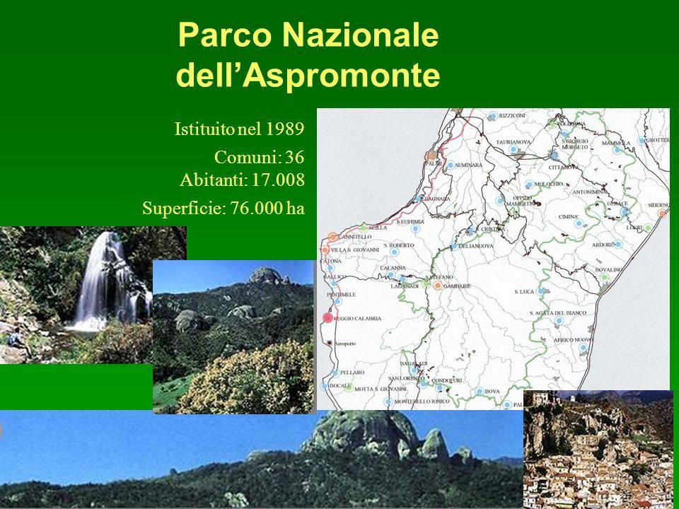 Parco Nazionale dellAspromonte Comuni: 36 Abitanti: 17.008 Superficie: 76.000 ha Istituito nel 1989