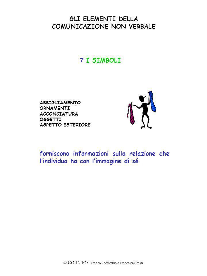 Franco Bochicchio e Francesca Grassi © CO.IN.FO - Franco Bochicchio e Francesca Grassi GLI ELEMENTI DELLA COMUNICAZIONE NON VERBALE 7 I SIMBOLI ABBIGL