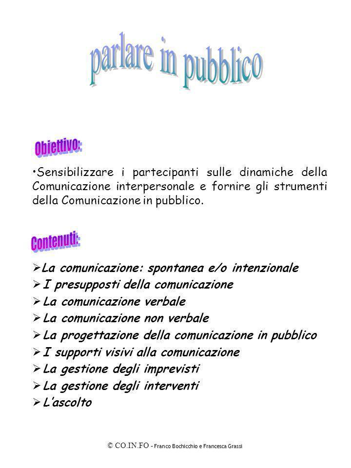 Franco Bochicchio e Francesca Grassi © CO.IN.FO - Franco Bochicchio e Francesca Grassi Sensibilizzare i partecipanti sulle dinamiche della Comunicazio