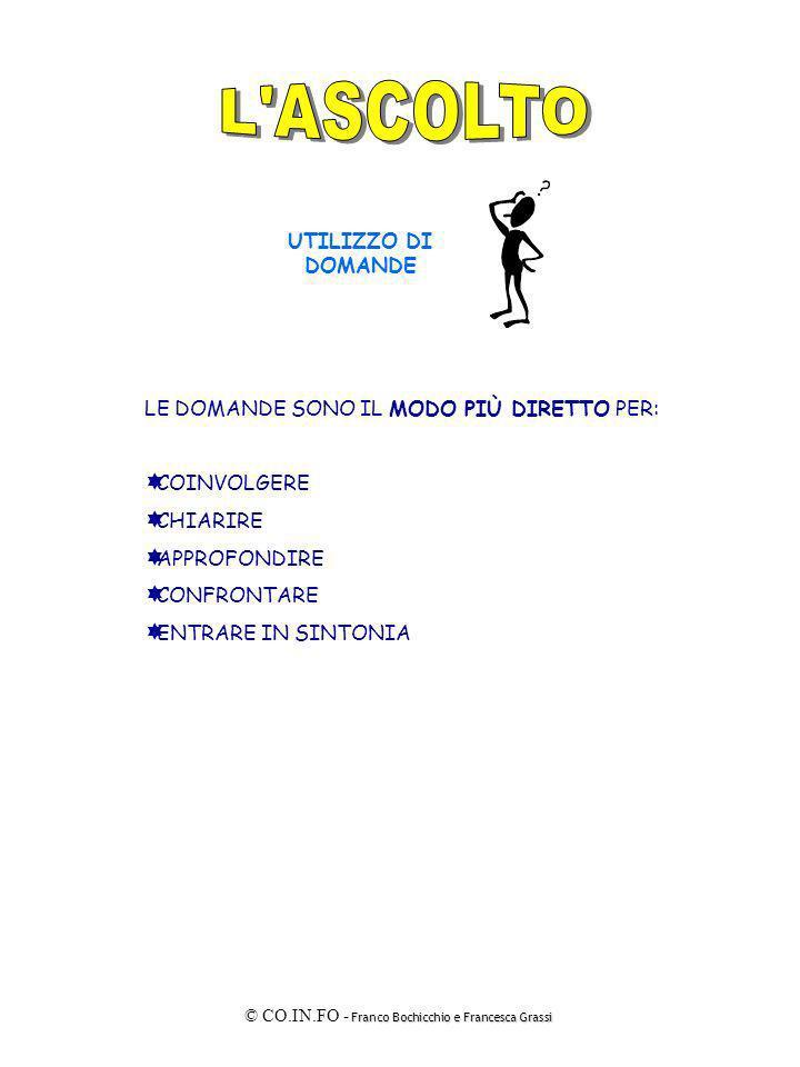 Franco Bochicchio e Francesca Grassi © CO.IN.FO - Franco Bochicchio e Francesca Grassi LE DOMANDE SONO IL MODO PIÙ DIRETTO PER: COINVOLGERE CHIARIRE A