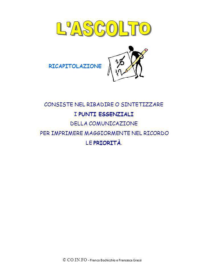 Franco Bochicchio e Francesca Grassi © CO.IN.FO - Franco Bochicchio e Francesca Grassi CONSISTE NEL RIBADIRE O SINTETIZZARE I PUNTI ESSENZIALI DELLA C