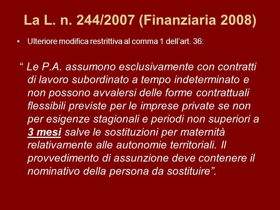 La L. n. 244/2007 (Finanziaria 2008) Ulteriore modifica restrittiva al comma 1 dellart.