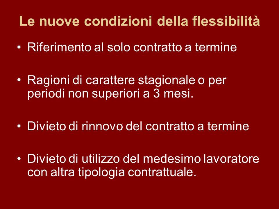 Le nuove condizioni della flessibilità Riferimento al solo contratto a termine Ragioni di carattere stagionale o per periodi non superiori a 3 mesi.